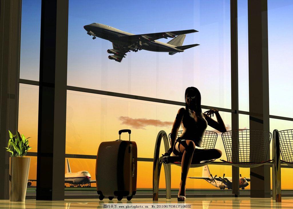飞机场旅客剪影 旅客 乘客 飞机 飞机场 人物剪影 旅行包 日常生活 人