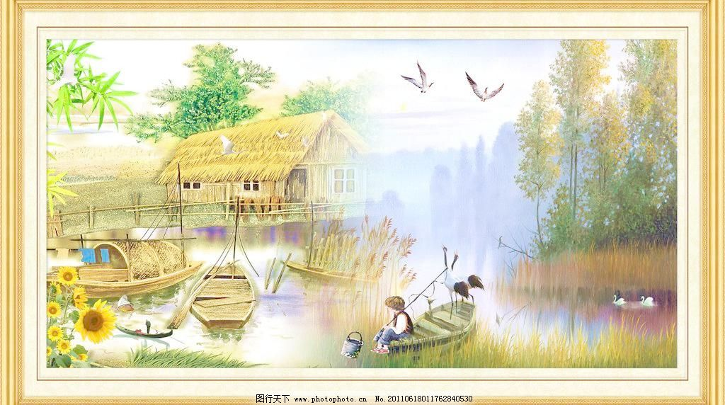 psd分层素材 壁画 边框 草房 垂钓 大厅画 飞鸟 风景 风景画 油画风景