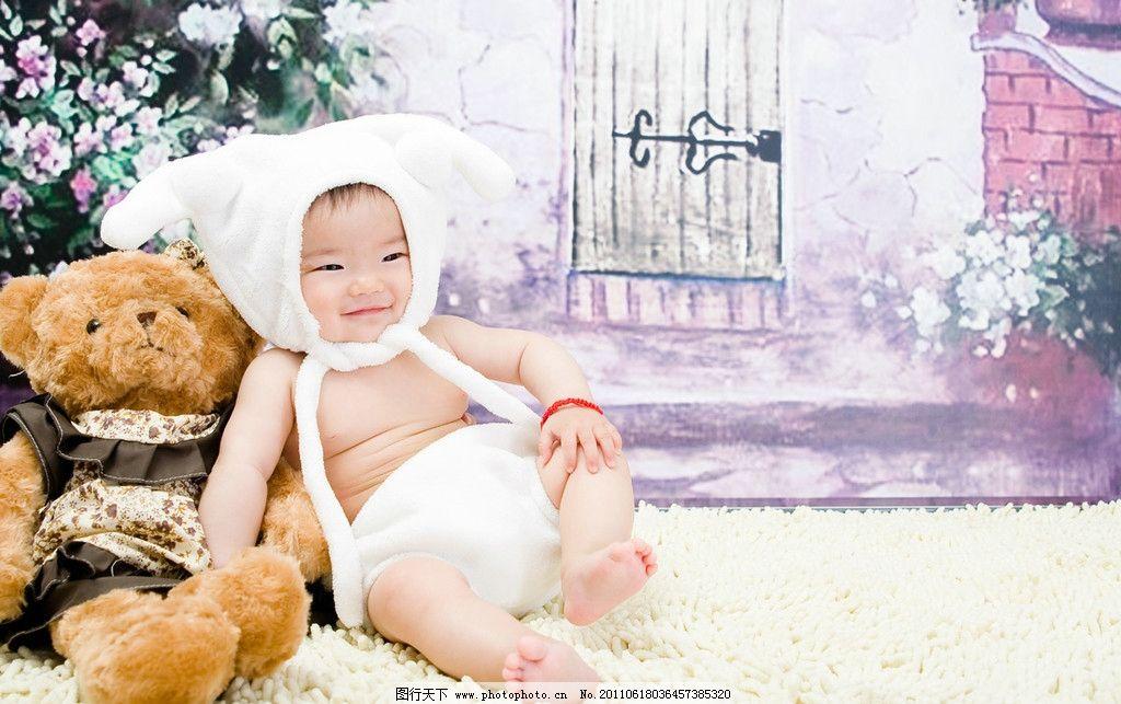可爱宝宝和小熊 幼儿 笑脸 小羊 儿童幼儿 人物图库 摄影