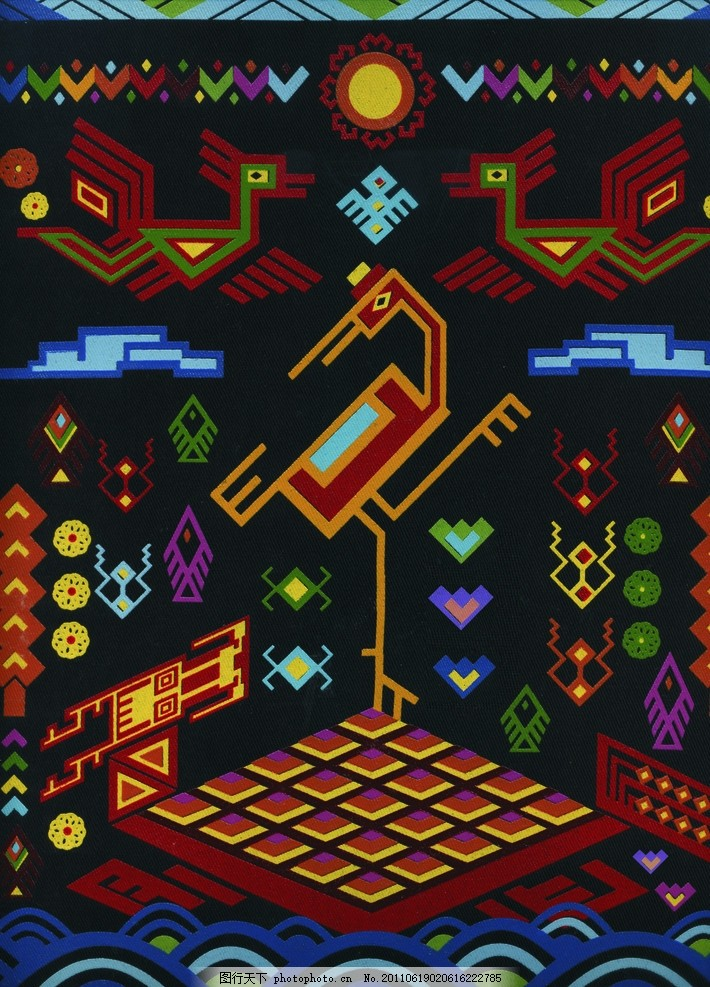 黎族 黎锦 黎族元素 鸟 花纹 图案 抽象底纹 底纹边框 设计 300dpi