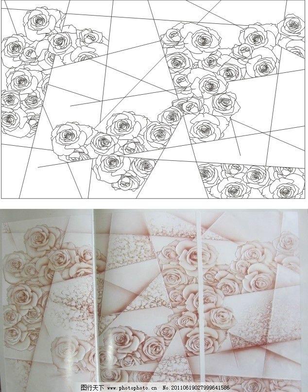 玫瑰 玫瑰花 几何 抽象 艺术玻璃图库 艺术玻璃 矢量 cdr 艺术玻璃