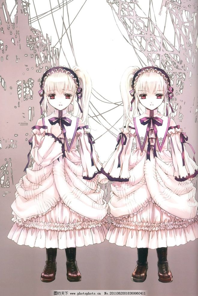 可爱娃娃 双胞胎 洋装 粉色 萝莉 日本插画 动漫人物 动漫动画 设计 3
