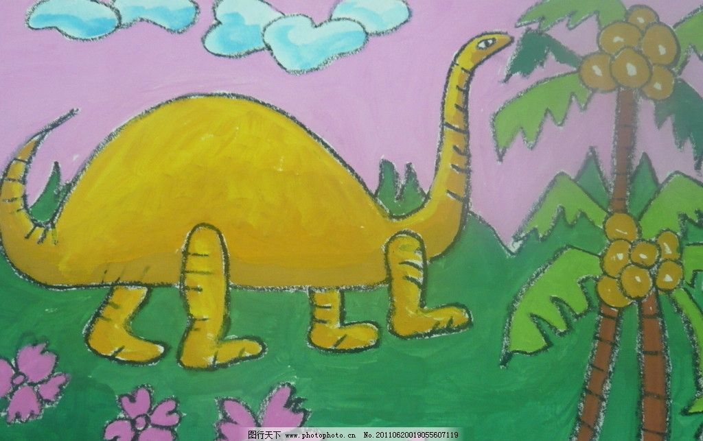 恐龙谷物粘贴画