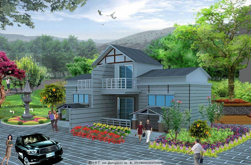 别墅绿化 农村别墅景观 度假村别墅 建筑设计 环境设计 设计 100dpi j-
