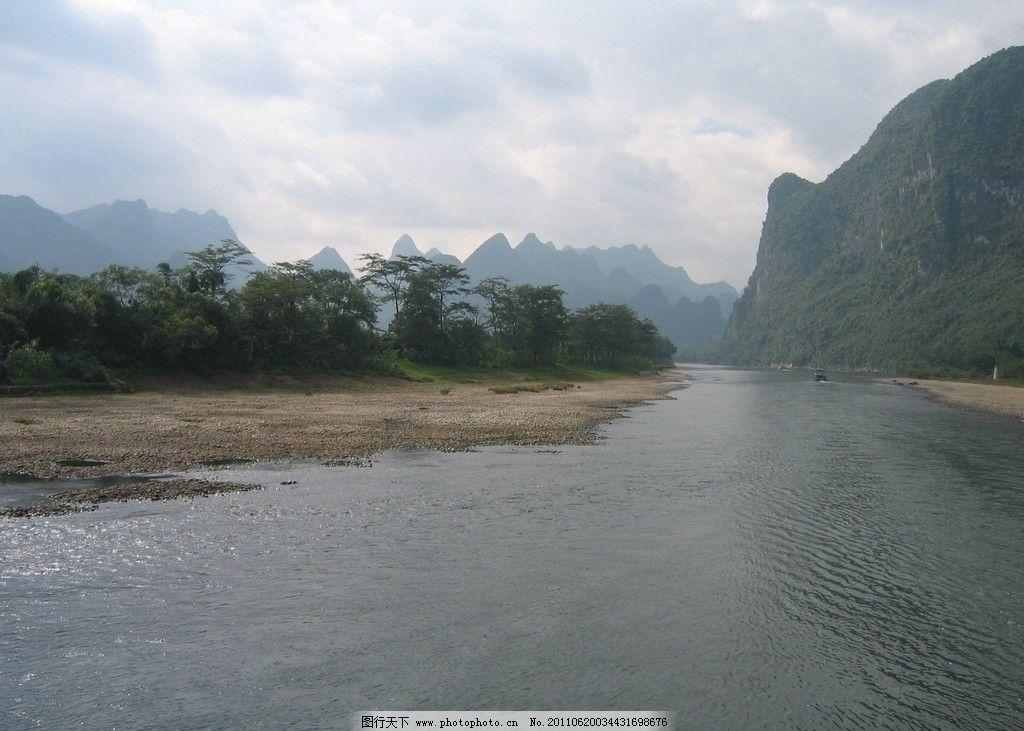 漓江 摄影 自然景观 高山 远山 绿山 树森 山峦 蓝天 白云