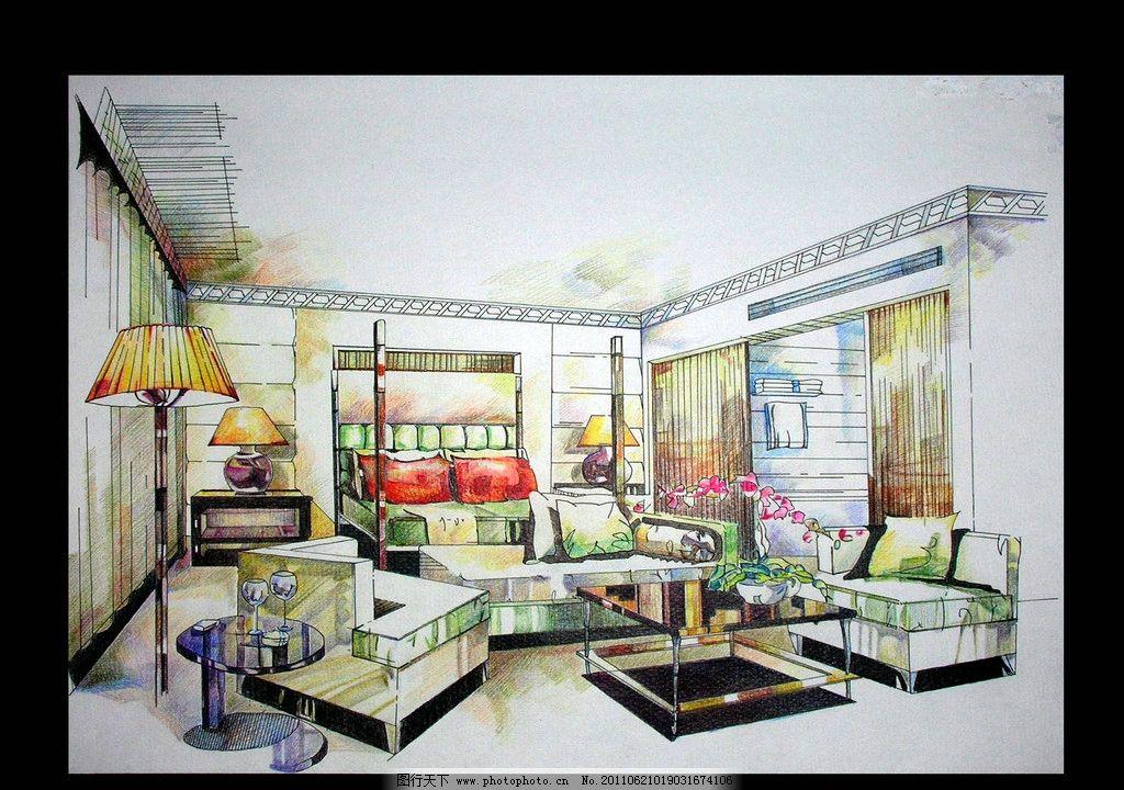 卧室(彩铅) 彩铅      室内设计 绘画书法 文化艺术 设计 300dpi jpg