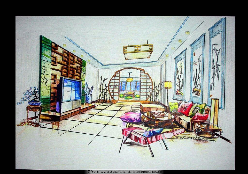 客厅设计(彩铅) 彩铅      室内设计 装修 绘画书法 文化艺术 设计