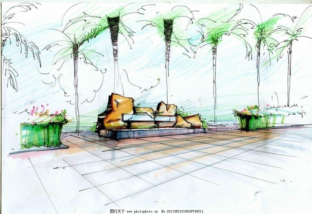 手绘建筑环境图片 手绘建筑环境 树木 石头 花丛 绘画书法 文化艺术