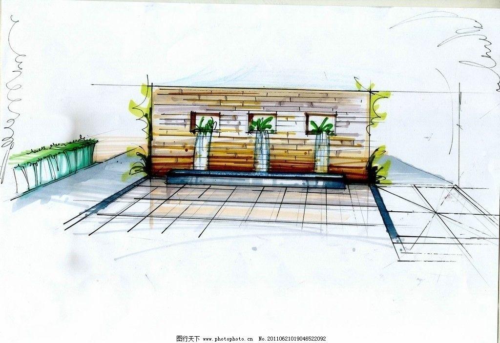 手绘建筑环境图片 手绘建筑环境 流水 绘画书法 文化艺术 设计 300dpi