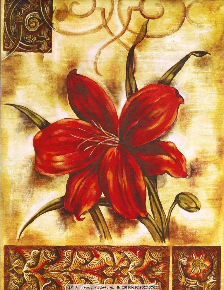 设计花卉 花卉绘画 花卉素材 抽象花卉 油画花卉 装饰画 欧式花卉