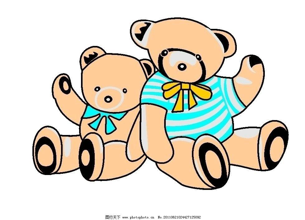 卡通熊 两只熊 卡通 野生动物 生物世界 矢量 cdr
