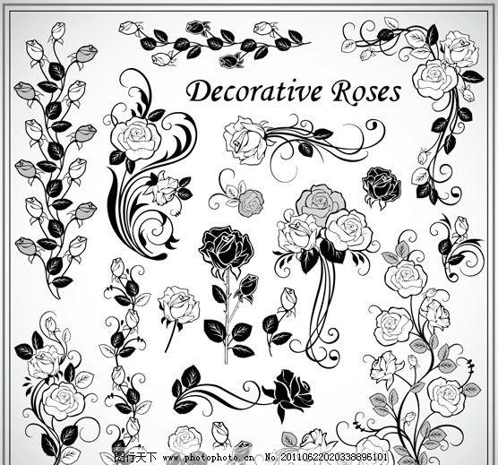 花朵 花纹 花边 黑白 华丽 角花 对花 装饰花 欧式 传统 底纹 边框