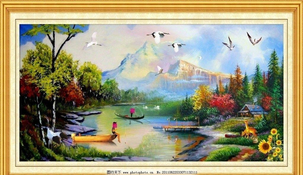 镜框 边框 山水挂画 山水壁挂 挂画 墙画 年画 飞鸟 建筑 仙鹤 鹿
