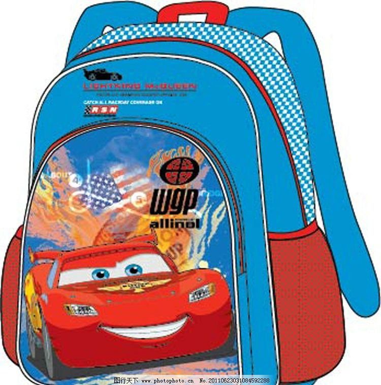 一款汽车背包效果图 红色卡通汽车 其他设计 广告设计 矢量 ai图片
