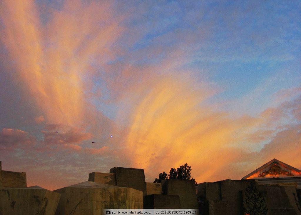 包头风景 内蒙古 包头 一宫广场 黄昏 蓝天 彩云 建筑 树木 风景 人文