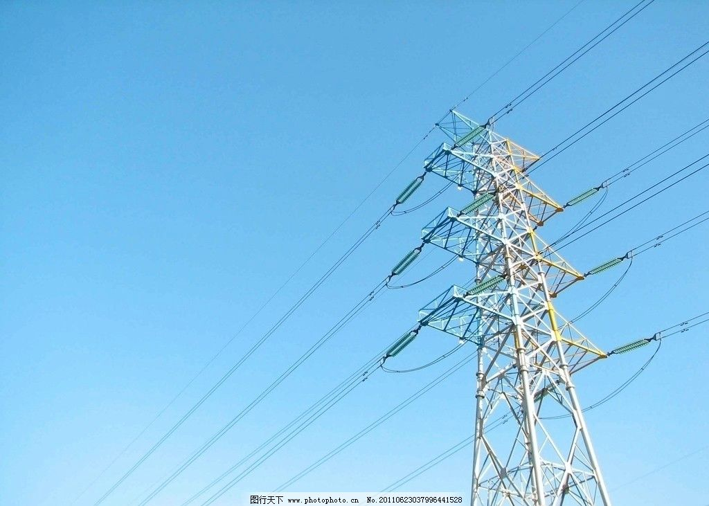 电力输送 电线 蓝天 天空