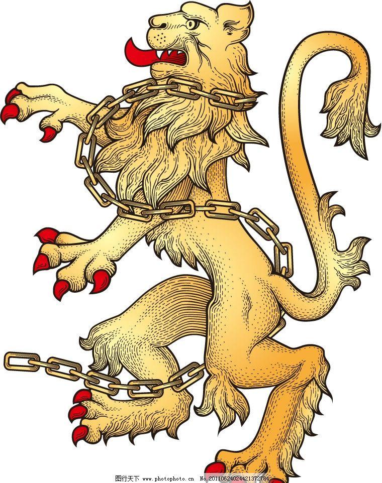 手绘狮子纹章图片_野生动物_生物世界_图行天下图库