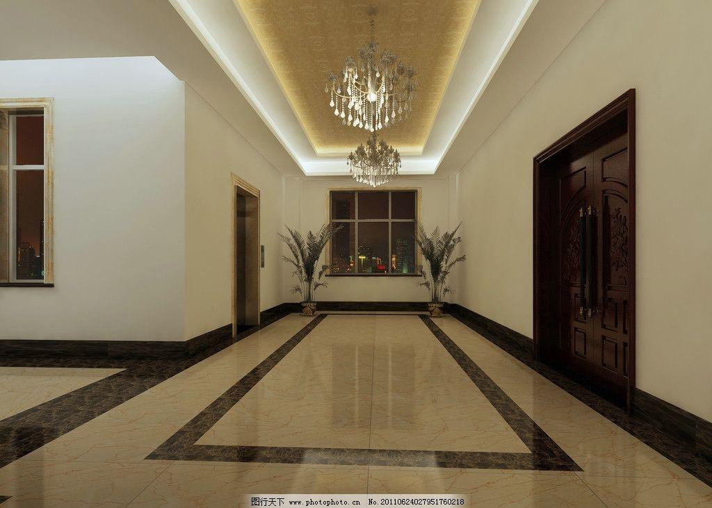 走廊效果图 走廊 门 吊灯 室内设计 环境设计 设计 72dpi jpg