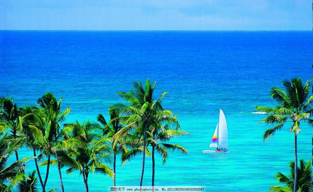 阳光大海沙滩 椰树 蓝天 白云 摄影