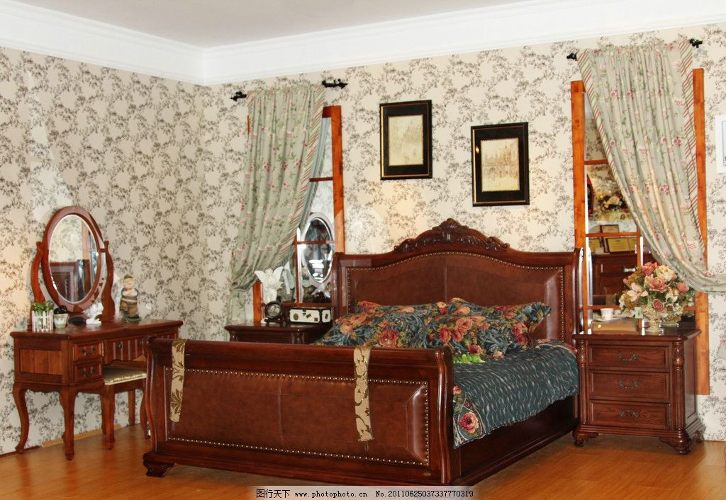 家居 欧式家具 实木家具 卧室 床 床头柜 梳妆台 饰品 家居生活