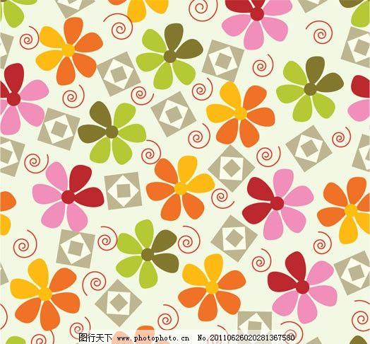 可爱花纹背景图片,花边 花卉 花朵 二方连续 纹样-图