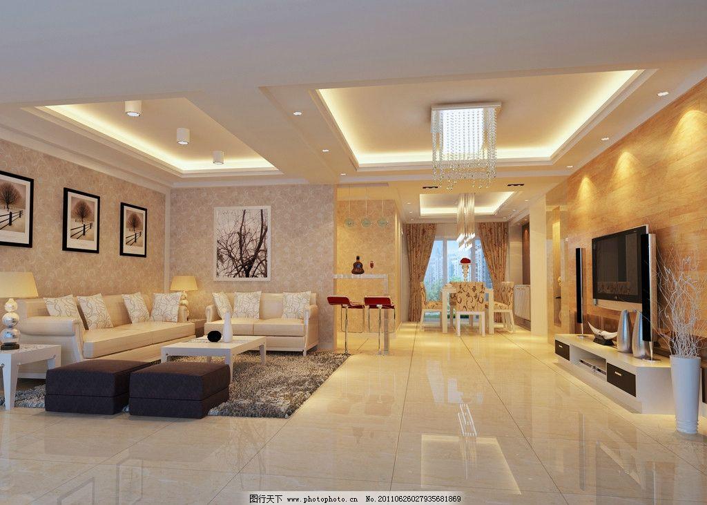 客厅效果图 室内设计效果图 现代风格 壁画 电视 沙发 灯