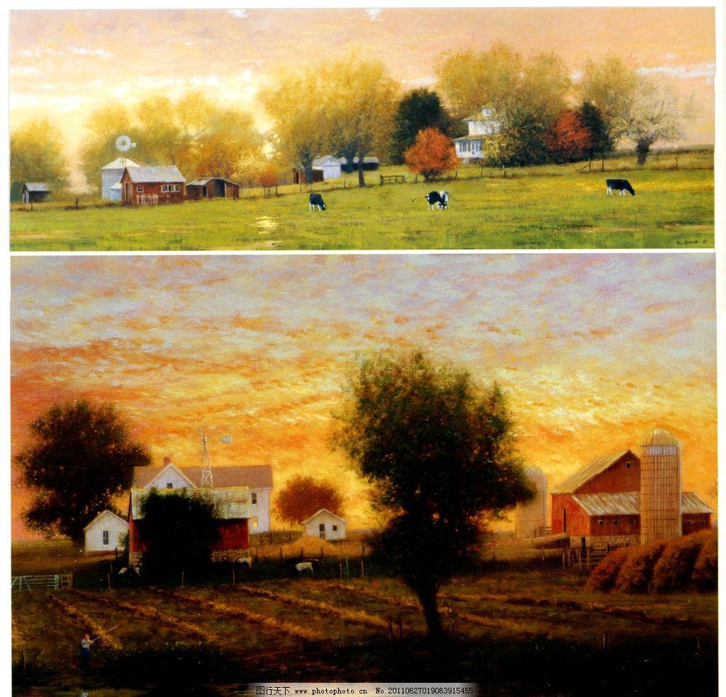 农场 油画风景 外国油画 写真油画 乡村风景 民房风景 油画花卉