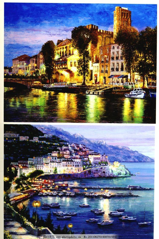 海边风光 油画风景 外国油画 写真油画 乡村风景 民房风景 海边风景