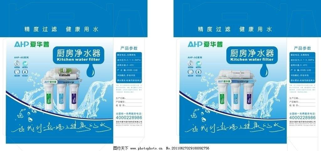 多级净水器包装盒 净水机 广告设计 蓝色 包装设计 矢量