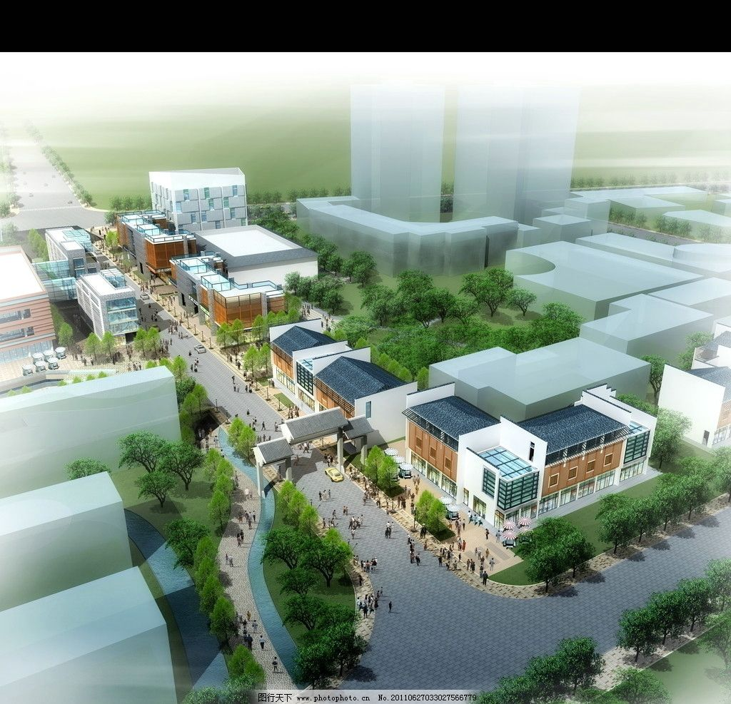 建筑鸟瞰图 鸟瞰商业 建筑效果图 鸟瞰素材 鸟瞰 素材 街景 商场 商厦