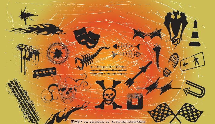 墨迹手绘图标矢量 墨迹 手绘 骷髅 面具 路障 龙 脚印 旗帜 图标 矢量
