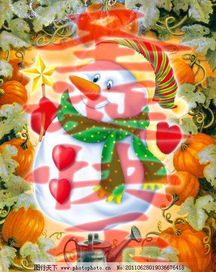 卡通绘本 雪人 油画 插图 卡通 装饰画 无框画 插画 儿童画 趣味 可爱