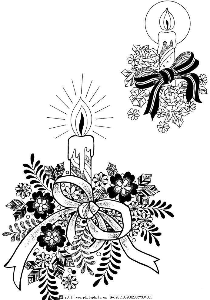 圣诞 节庆 蜡烛 缎带 花草 花边花纹 底纹边框 设计 236dpi png