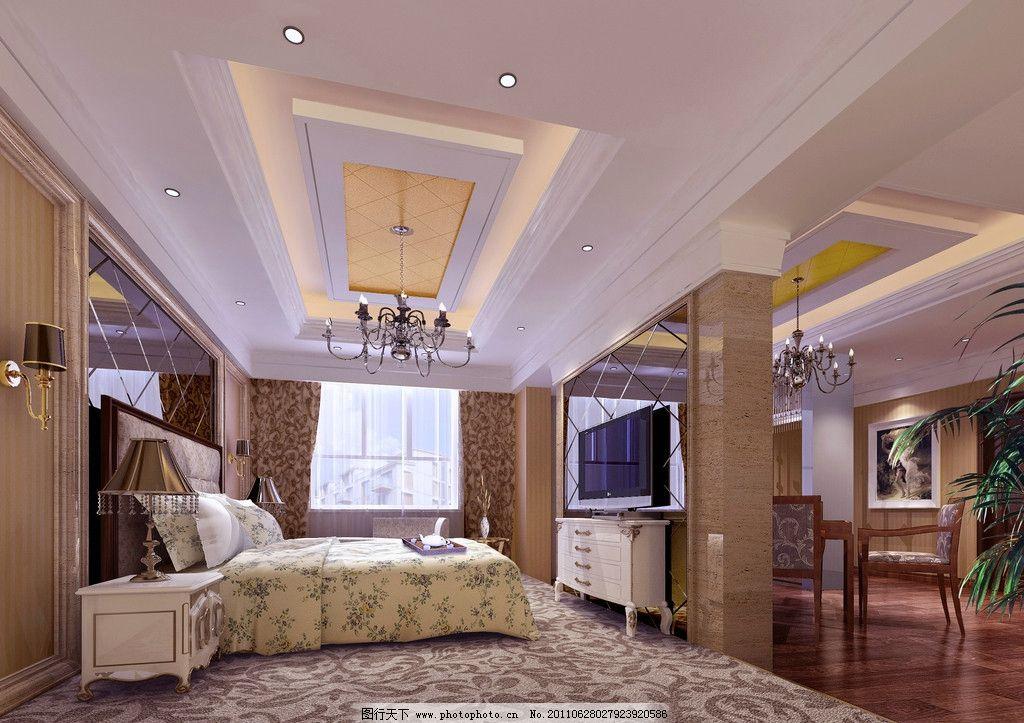 主人卧室 欧式风格 豪华包间 茶色镜 造型灯槽 造型吊顶 地毯 木地板