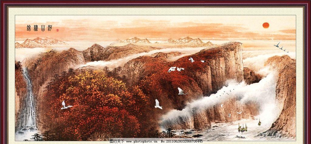 风景画 锦绣山河 山水风景 壁画 装饰画 油画 油画风景 风景油画
