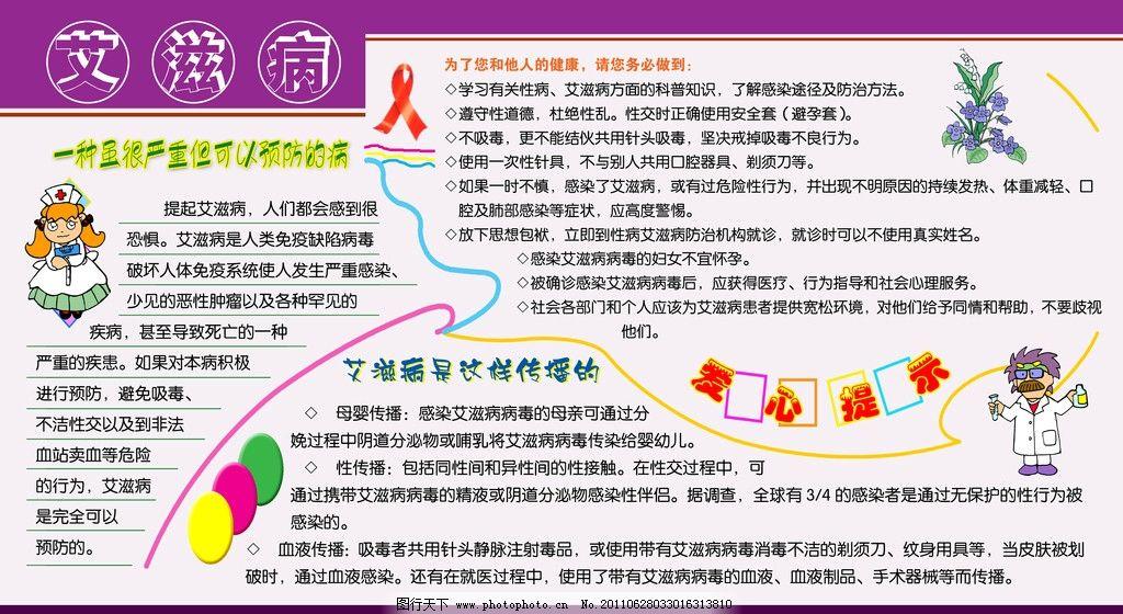 艾滋病展板 艾滋病 文字 边框 卡通人物 psd分层素材 源文件 80dpi ps