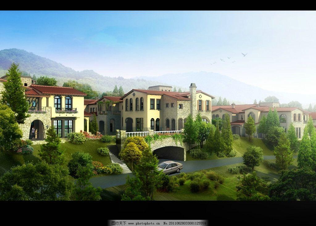 效果图 景观园林设计 环境设计 豪华别墅 海边别墅 中式别墅 别墅花园