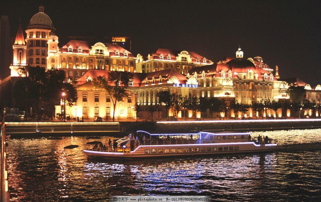 海河奥式风情区夜景 城市景观 建筑景观 河道景观 城市掠影 欧式建筑
