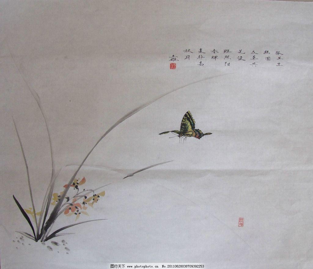 兰花 兰草 蝴蝶 秋月 水墨画 国画 美术绘画 摄影
