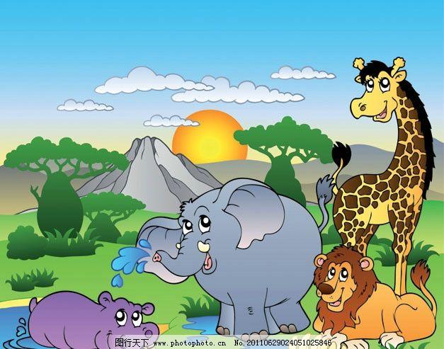 长颈鹿 狮子 草地 绿地 树木 山川 蓝天 白云 太阳 日落 非洲 动物 动