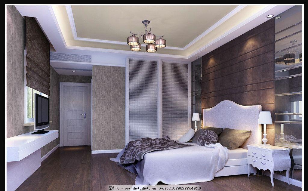 卧室效果图 吊灯 背投电视 标准房间 室内设计 环境设计 设计 300dpi