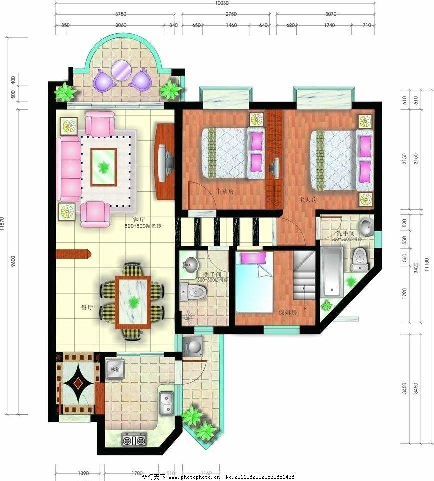 室内平面图 平彩 户型 彩图 平面布置图 室内设计 建筑家居 矢量
