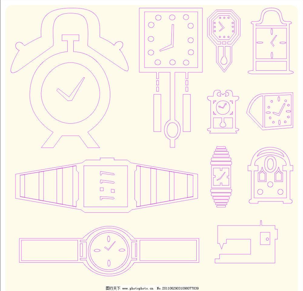 手绘手表和钟图片