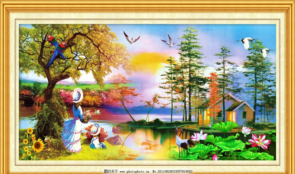 墙画 年画 飞鸟 建筑 仙鹤 鹿 卡通 树林 油画人物 人物油画 山水蓝天