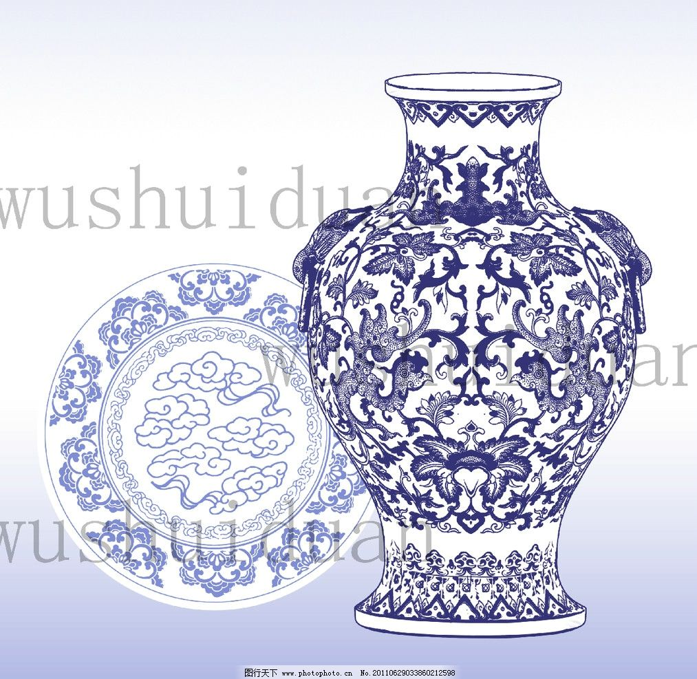 青花瓷 陶瓷 瓶 盘子 古典