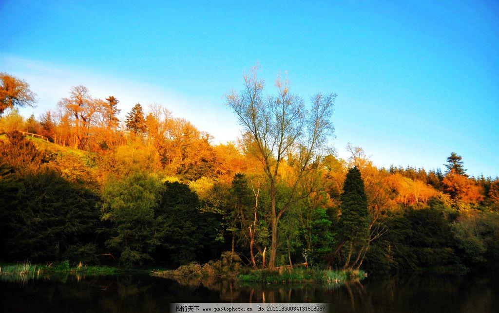 爱尔兰风景 欧洲 西欧国家 湖泊 湖水 倒影 树木 草场 爱尔兰风采